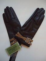 Ladies Fownes 100% Cashmere Lined Genuine Leather Driving Gloves, Brown, Medium