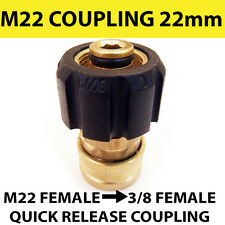 "M22 female - 3/8"" female QR Coupling connector BRASS Pressure Washer adapter"