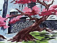 SALE New Orleans Moving Trees Barkcloth Era Vintage Fabric Drape Curtain 40s DIY