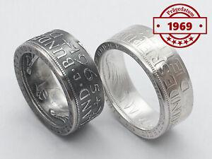 Münzring • 1969 • BRD 5 Mark mit Datum Heiermann Silberadler Silber 625er Ring