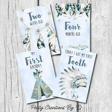 "Tribal Boho Arrow Baby Moments and Milestones Cards 23 Pack 4×6"" Photo Props Boy"