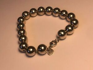 """PRE-OWNED 7"""" TIFFANY & CO 10MM LARGE BALL BRACELET STERLING SILVER 925"""