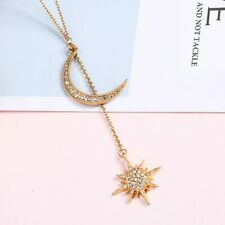 Star Moon Pendant Gold Necklace Charming Female Crystal Zircon Gold Long Chain