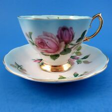 Pretty Pink Roses on Varigated Light Blue Royal Albert Tea Cup and Saucer Set