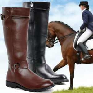 Mens Zipper Riding Military PU Leather Shoes Knee High Equestrian Boots   ^