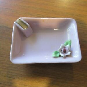 Sweet Vintage 1940s Mid Century Pink Ashtray with Ceramic Flower Trim