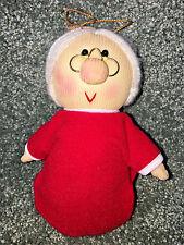 MRS. CLAUS Vintage CHRISTMAS TREE ORNAMENT Mr Santa Wife PLUSH CLOTH Figurine