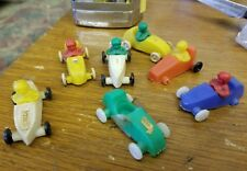 7 Vintage West Germany Plastic Soap Box Derby Race Cars w 6 Removable Drivers