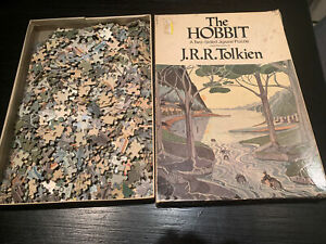 """Vintage 1971 J.R.R. Tolkien """"The Hobbit"""" Two-Sided Jigsaw Puzzle (15"""" x 21"""")"""
