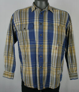 90s Vintage Tommy Hilfiger Snap Up Plaid Workwear L/S Shirt Mens S sportsman
