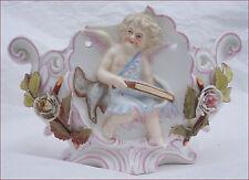 Cherub Putti Flowered Jardiniere Planter Crossbow Hand Painted German Porcelain