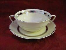 Johnson Bros England Victorian ivory handled soup cup saucer platinum rims