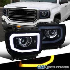 14-16 Sierra 1500 2500HD 3500HD LED DRL+Signal Glossy Black Projector Headlights