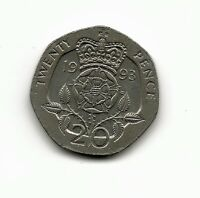 World Coins - UK Great Britain 20 Pence 1993 Coin KM# 939