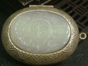 Antique Chinese Nephrite Celadon-HETIAN-OLD Jade Flows Jewelry box Statue QING