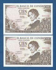 ESPAÑA // SPAIN -- PAREJA 100 PESETAS ( 1965 ) -- UNC -- SIN SERIE  -- LEER .