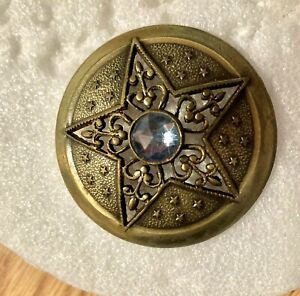 Scarce Pierced Brass Star w/Lt Blue Clear Center Stone Button #715