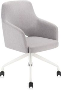 Upholstered Home Office Desk Chair with Swivel and Comfy Back Support Grey