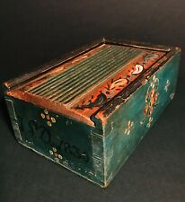 SUPER PA FOLK ART PAINTED WOOD SLIDING LID CANDLE BOX,D.1830,TEAL BLUE,EXCELLENT