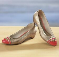 NEW WOMENS LIFE STRIDE GOLD CORAL SNAKE EMBOSSED SHOES WEDGE SIZE 7 M