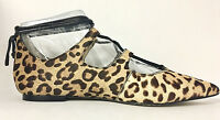 VINCE CAMUTO - EMMARI 2 LEOPARD LACE-UP POINTED TOE FLAT SZ 6, RETAIL $129