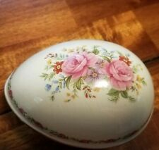 Vintage Sadler England Floral Egg Trinket Box Very Collectible! Buy It Now!