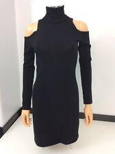 Balmain Black 100% Lana Wool Jumper Long Sleeve Dress Size 40 Fits Uk 10-12