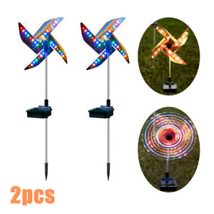 Solar Power Spin Windmills Light Ornaments Outdoor Garden Landscape Decoration