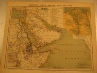 Antike Landkarte von 1900:Afrika Nordost und Arabien Kolonien..Antique map