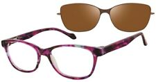 New REVOLUTION Women's Eyeglasses Frames Jasper Purple POLARIZED Sunclip 52mm