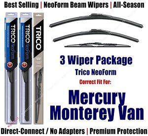 3pk Wipers Front & Rear NeoForm - 2004-2007 Mercury Monterey Van 16240/200/30160