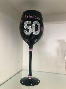 "Grassland Roads 50th birthday wine glass ""Fabulous"""