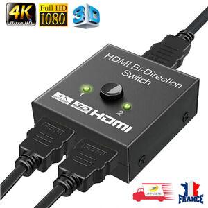 Commutateur HDMI 4K Switch Répartiteur Splitter Multiprise 2 Port Bidirectionnel