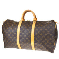 AUTH LOUIS VUITTON KEEPALL 50 HAND BAG MONOGRAM BROWN LEATHERB M41426 80MD360
