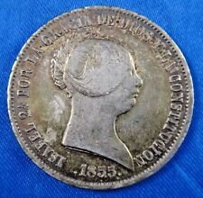 1855 Spain 20 Reales S20R Madrid Silver Coin
