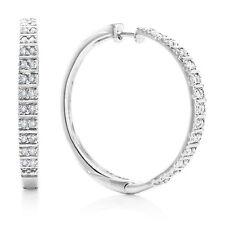 1/2 Carat Natural Diamond Hoop Earrings in Sterling Silver