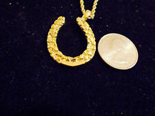 bling gold plated casino lucky horseshoe nugget charm chain hip hop necklace hot
