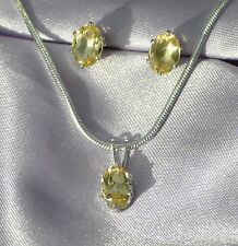 2.25CTW-- HANDCRAFTED  7MMX5 MM  OVAL LEMON CITRINE STERLING PENDANT & STUDS-