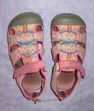 Sz.10Toddler Pink Zig Zag Velcro Sport Sandals Adjustable WonderKids