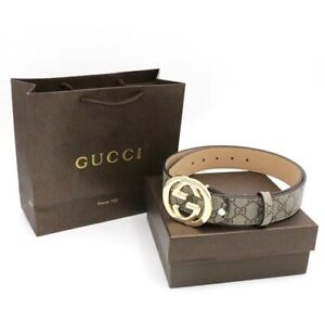 Authentic GUCCI BLACK Belt GG GOLD leather