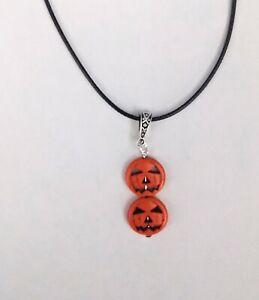 Pumpkin necklace black cord necklace Halloween necklace Halloween jewellery