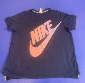 Nike Short Sleeve Tee Womens Size 1X Navy Blue Pink Graphic