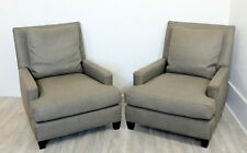 Contemporary Pair of Oversized Grey Lounge Armchairs Barbara Barry for Baker
