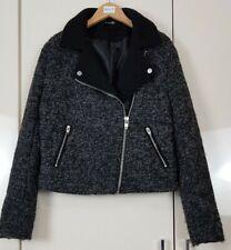 H&M Women's Coat Jacket Size 14 Black Grey Warm Biker Style Cropped Winter