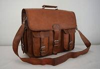 "17x13"" Real Brown Leather Padded Briefcase Macbook Laptop Satchel Messenger Bag"