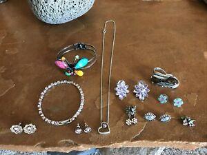 Vintage Rhinestone Jewelry Multi-color Bracelet, Earrings, Rings, Necklace Lot