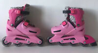Zinc In-Lines Skates Pink and Zebra Pattern. Adjustable Size 13-3.