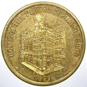 PHILADELPHIA, 1899, Gilt Brass Philly Record Newspaper Token, Independence Hall.