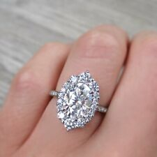 2.85Ct Oval Cut & Round Diamond Wedding Engagement Ring 14K White Gold Over