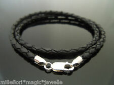"3mm Black Braided Leather & Sterling Silver 16"" Necklace With Lobster Clasp"